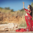 Beautiful indian woman bride in sari dancing bellydance. Arabian bellydancer in bollywood dance - Stock Photo