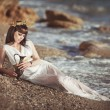Alluring woman in Greek goddess style — Stock Photo