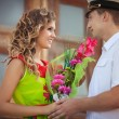 Happy man and woman on dating — Stockfoto