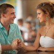 Happy loving Couple in Cafe — Stock Photo #32655627