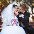 Newly married couple kiss at park — Stock Photo