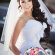 Bride holding wedding bouquet  — Foto Stock