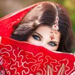 Beautiful Indian woman portrait, bright makeup woman with golden jewelry — 图库照片