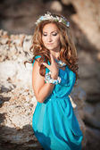 Fantasy mermaid woman with bright makeup and seashell wreath, sea princess and fairy girl — Stock Photo