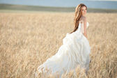 Beautiful bride at wedding day outdoor — Stock Photo