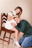 Husband hugs his pregnant wife — Stock Photo