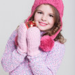 Lovely winter little girl with christmas tree toy. — Stock Photo #37930973