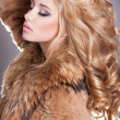 Beauty fashion woman in fur coat winter. — Stock Photo