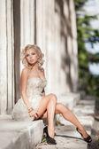 Vogue style woman, fashion bride at wedding dress. — Stock Photo