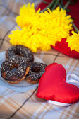 Stacked chocolate donuts and chip cookies on picnic dinner outdoors — ストック写真