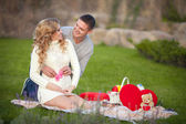 Pregnant woman and her husband relaxing on nature and have picnic in park — Stock Photo