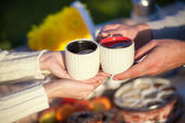 Couple drinking tea on picnic in park, man and woman with cup of hot coffee espresso outdoors on dating — Stock Photo