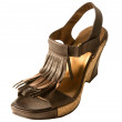 Foto Stock: Wedge fringed leather sandal