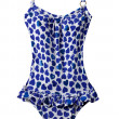 Wasted blue hearts frilly swimsuit — Stockfoto