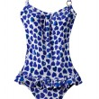 Wasted blue hearts frilly swimsuit — Foto de Stock