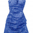 Puffed strapless pebbled blue dress — Stock Photo