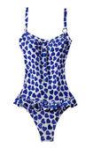 Zmarnowane niebieskie serca plisowany strój kąpielowy — Zdjęcie stockowe