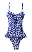 Wasted blue hearts frilly swimsuit — Stock Photo