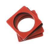 Plastic bicolor square bracelets — Stock Photo