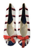 Sailor ballerinas with red bow — Stock Photo