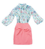 Print blouse and pink skirt fashion look — Stock Photo
