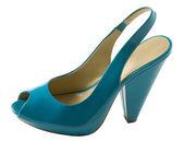 Turquoise patent leather peep toe — Stock Photo