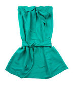 Green strapless belted pocketed dress — Стоковое фото