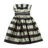 Striped satin puffed strapless dress — Stock Photo