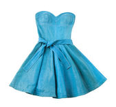 Turquoise leather evase strapless belted dress — Stock Photo
