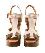 Peep toe leather sandals — Stock Photo