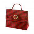 Red houndstooth checker handbag — Stock Photo