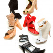 Stock Photo: Peep toe booties stilettos fashion still life composition