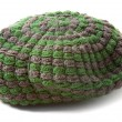 Foto Stock: Green and grey knit beanie