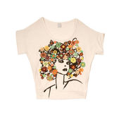 Embroidered flowers afro girl t-shirt — Stock Photo
