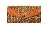 Ethnic ornaments handbag — Stock Photo