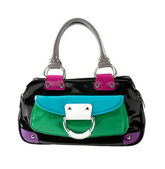 Color block patent leather handbag — Stock Photo
