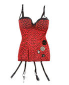 Red leopard corset with suspenders — Stock Photo