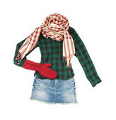 Lumberjack miniskirt fashion look — Stock Photo
