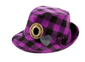 Purple squares borsalino with brooches — Stock Photo