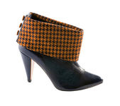 Orange houndstooth check and black leather high heels bootie — Stock Photo