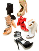 Peep toe booties stilettos fashion still life composition — Stock Photo