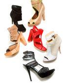 Peep toe booties stilettos fashion still life composition — Stock Photo