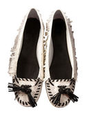 Python fringed lace flat ballerinas — Stock Photo