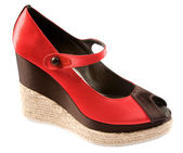 Bicolor raffia wedge peep toe — Stock Photo