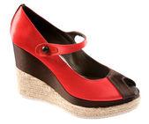 Bicolor raffia wedge peep toe — Stock Photo