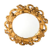 Round Carved Wood Gilded Wall Mirror — Stock Photo