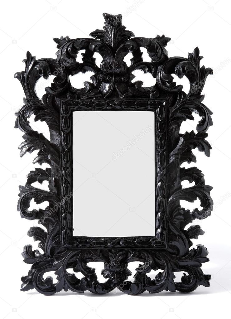Marco de madera tallada pintada negro barroco del espejo - Espejo marco negro ...