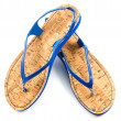Cork soled blue flip flop sandals — Stock Photo