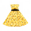 Flowery evase bateau yellow dress - Stok fotoğraf