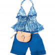 Stock Photo: Open front tie empire line porcelain pattern halter klein shorts